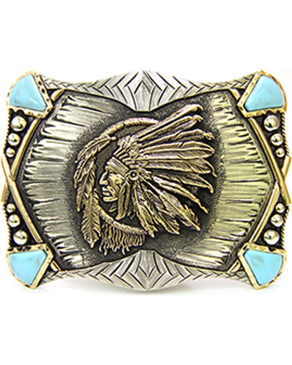 Augus Silversmiths Women's Headdress Belt Buckle, Silver, hi-res
