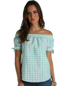 Wrangler Women's Mint Gingham Off The Shoulder Top , Green, hi-res