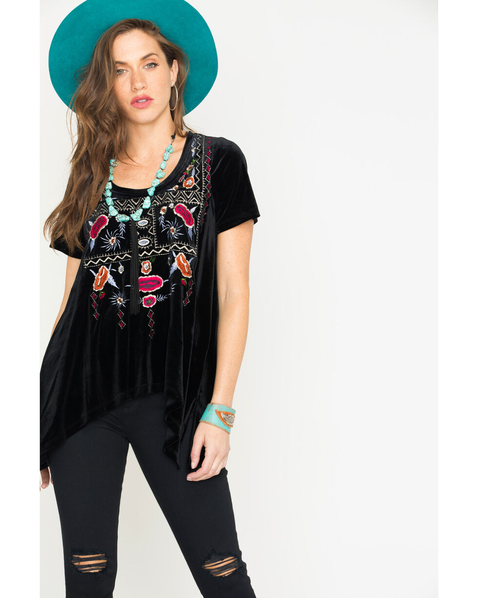 Miss Me Women's Embroidered Asymmetrical Hem Tee , Black, hi-res