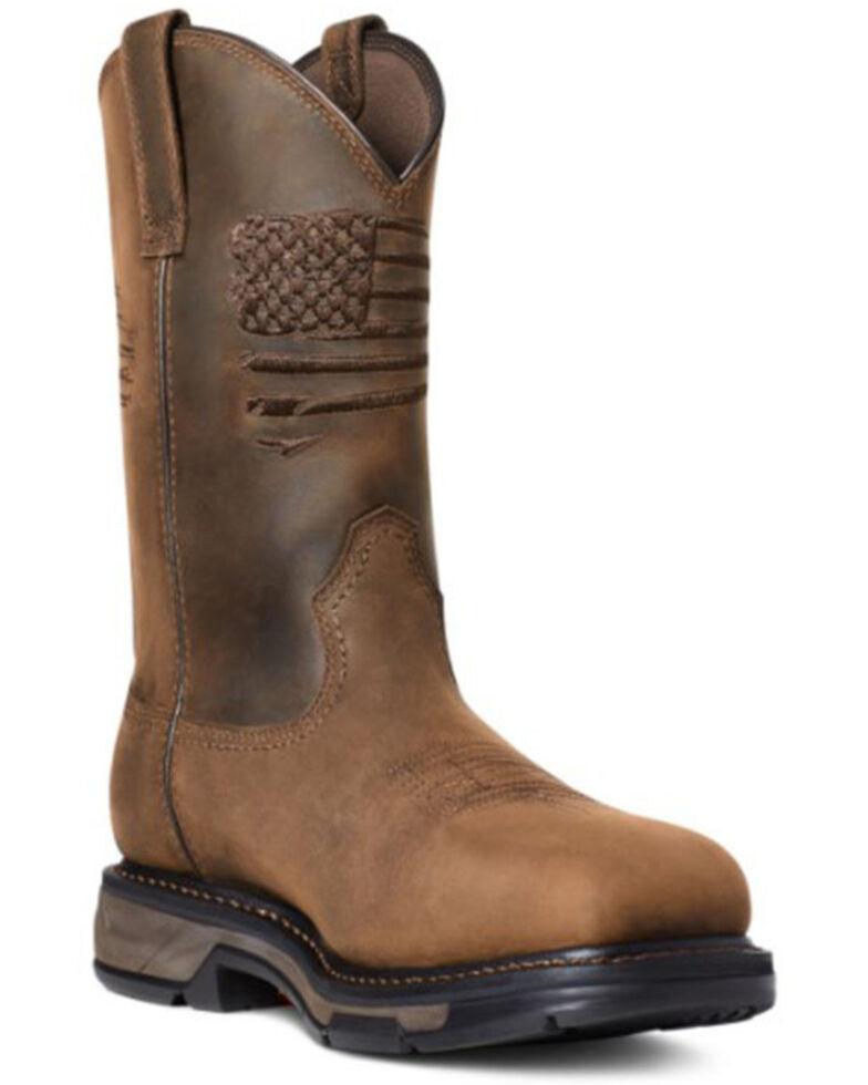 Ariat Men's Workhog Patriot Western Work Boots - Carbon Toe, Brown, hi-res