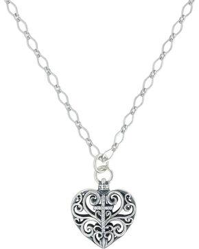 Sterling Lane Women's Heart Full Of Faith Cross Necklace , Silver, hi-res