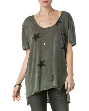 Miss Me Women's Olive Short Sleeve Star Shirt , Olive, hi-res