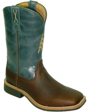 Twisted X Kids' Square Toe Western Work Boots, Cognac, hi-res
