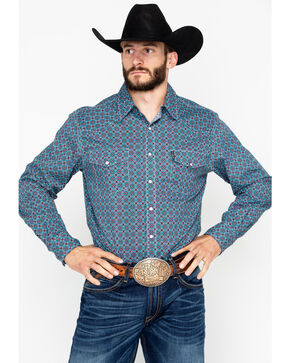 Cinch Men's Blue and Red Geo Print Long Sleeve Western Shirt , Wine, hi-res