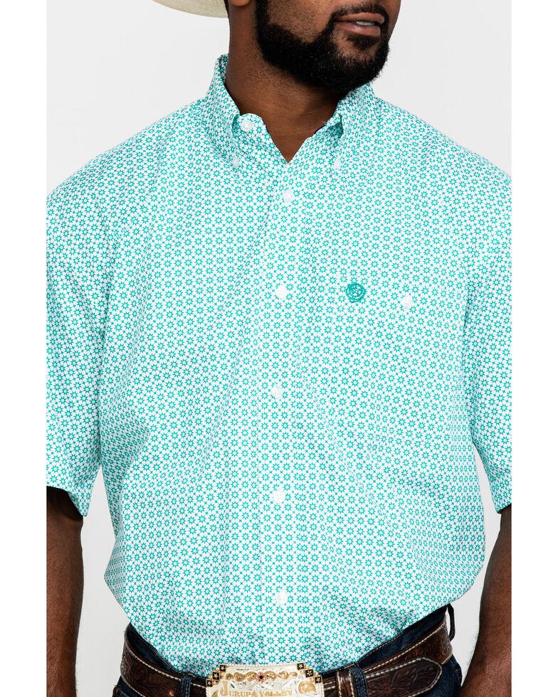 George Strait by Wrangler Men's Green Geo Print Short Sleeve Western Shirt - Tall , Green, hi-res