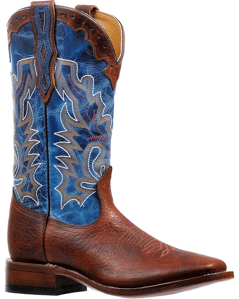 Boulet Men's Lava Electric Blue Stockman Cowboy Boots - Square Toe, Brown, hi-res
