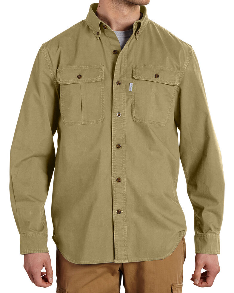 Carhartt Men's Foreman Stretch Long Sleeve Work Shirt, Beige, hi-res