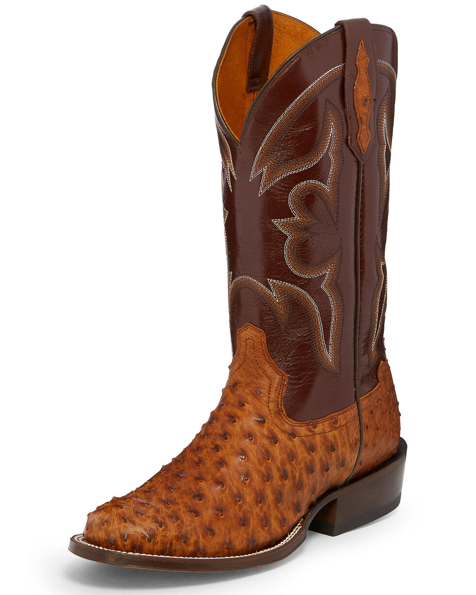 Tony Lama Men's Ronnie Full-Quill Ostrich Western Boots - Round Toe, Cognac, hi-res