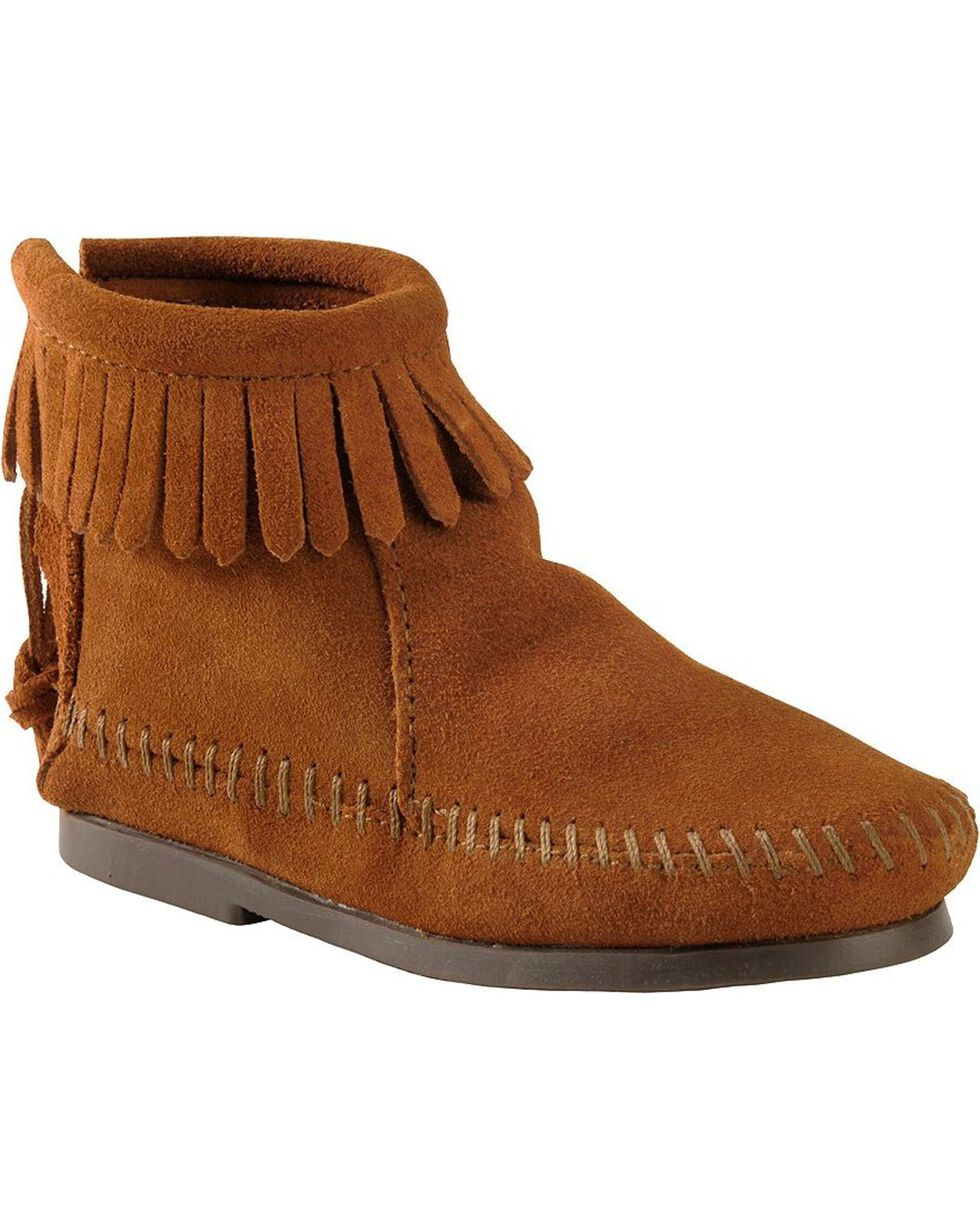 Minnetonka Girls' Suede with Fringe Back Zipper Moccasin Boots, Brown, hi-res