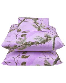 Realtree Lavender Camo Queen Sheet Set, Camouflage, hi-res