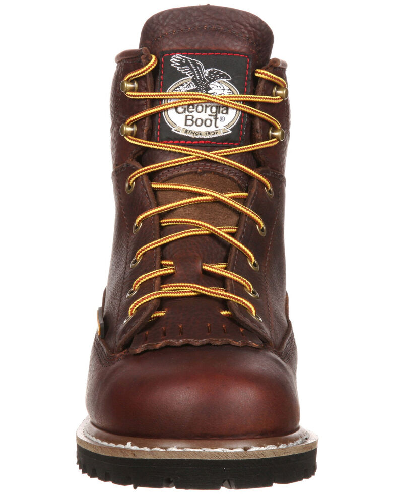 Georgia Boot Men's Lace-To-Toe Waterproof Work Boots - Steel Toe, Brown, hi-res