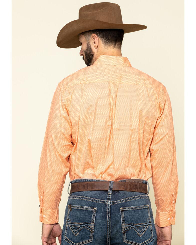 Ely Cattleman Black Label Men's Coral Geo Print Long Sleeve Western Shirt , Coral, hi-res