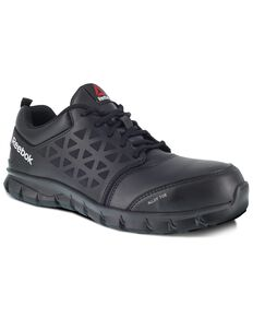Reebok Men's Black Sublite Cushion Work Boots - Alloy Toe, Black, hi-res