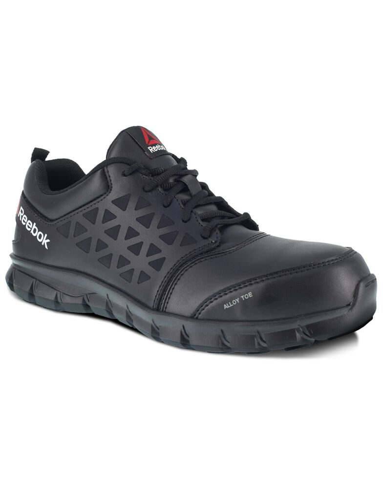 Reebok Men's Black Sublite Cushion Work Shoes - Alloy Toe, Black, hi-res