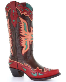 Corral Women's Eagle Overlay Embroidered Western Leather Boots - Snip Toe , Brown, hi-res