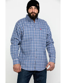 Ariat Men's FR Asphalt Check Plaid Long Sleeve Work Shirt , Navy, hi-res