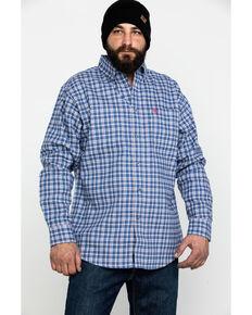 Ariat Men's FR Asphalt Check Plaid Long Sleeve Work Shirt - Tall , Navy, hi-res