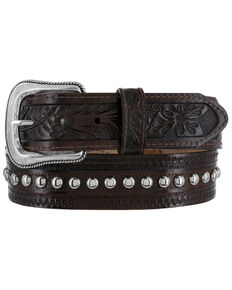 Tony Lama Men's Big Valley Stud Western Belt, Brown, hi-res