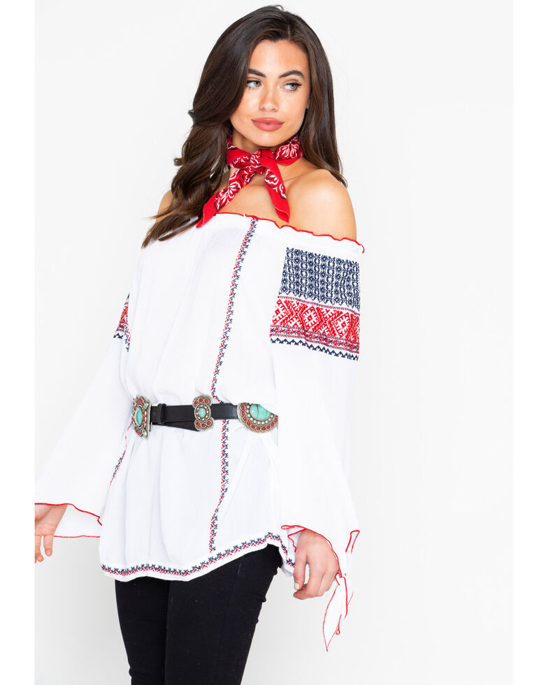 Wrangler Women's White Peasant Embroidered Off The Shoulder Top, White, hi-res