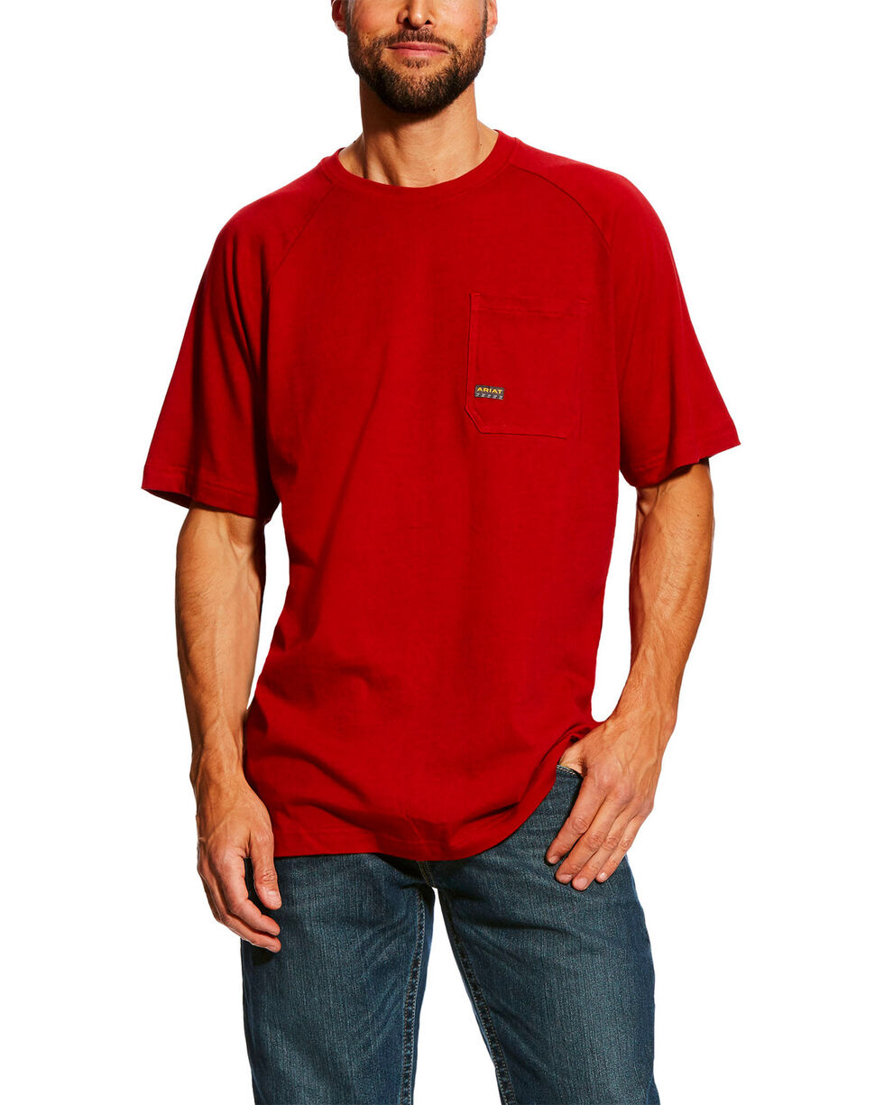 Ariat Men's Red Rebar Cotton Strong Short Sleeve Crew Work Shirt , Red, hi-res