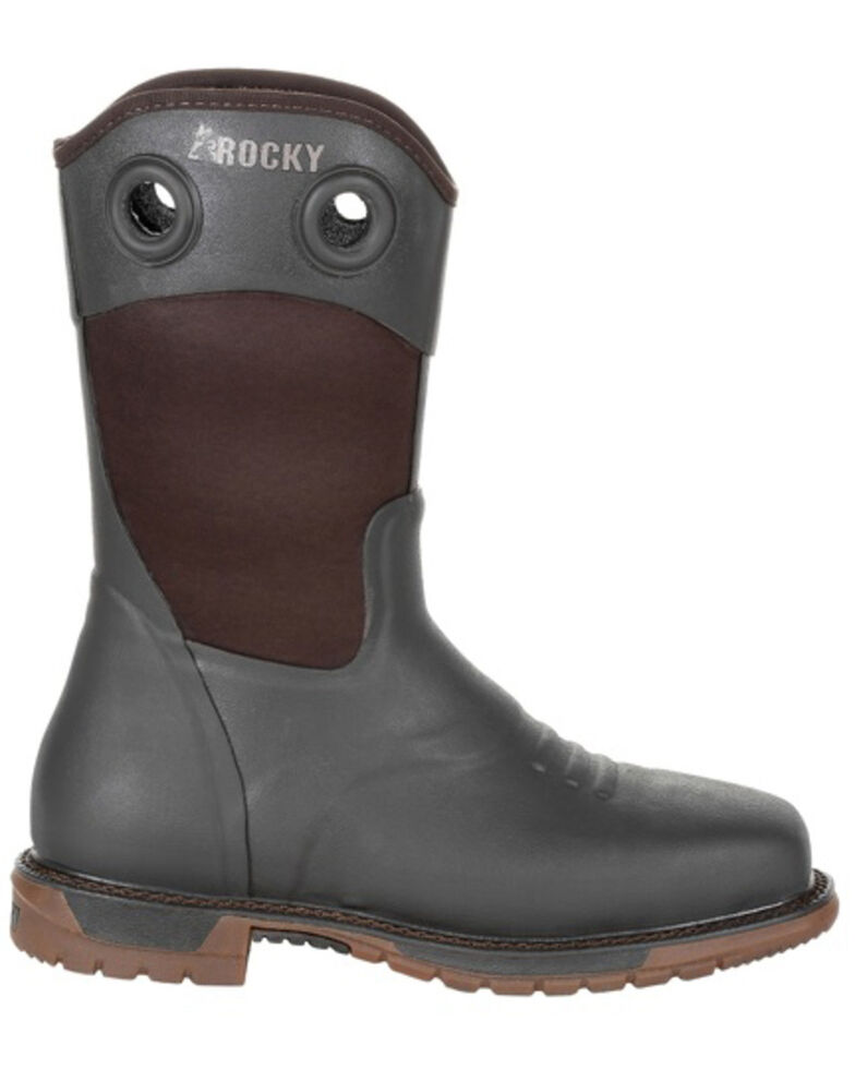 Rocky Women's Original Ride FLX Rubber Western Work Boots - Soft Toe, Chocolate, hi-res