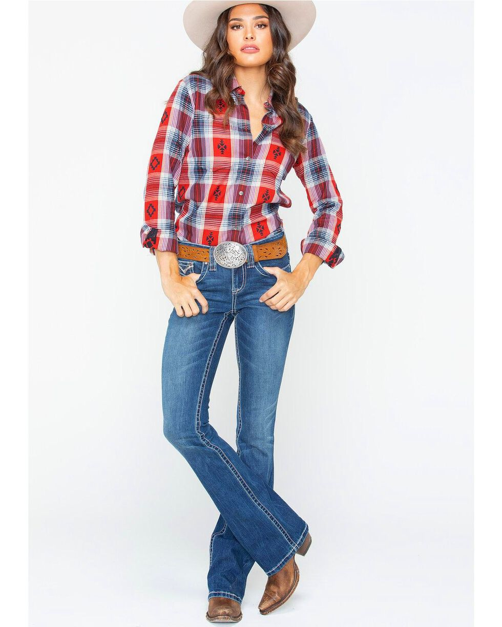 Ariat Women's Etna Madder Dobby Plaid Flannel Shirt , , hi-res