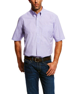 Ariat Men's Mignano Small Plaid Short Sleeve Western Shirt , Purple, hi-res