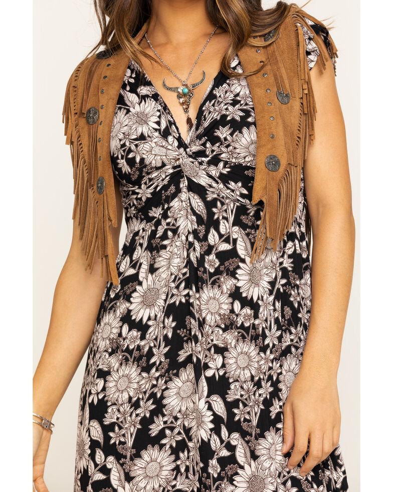 Angie Women's Black & Tan Floral Knot Front Midi Dress, Tan, hi-res