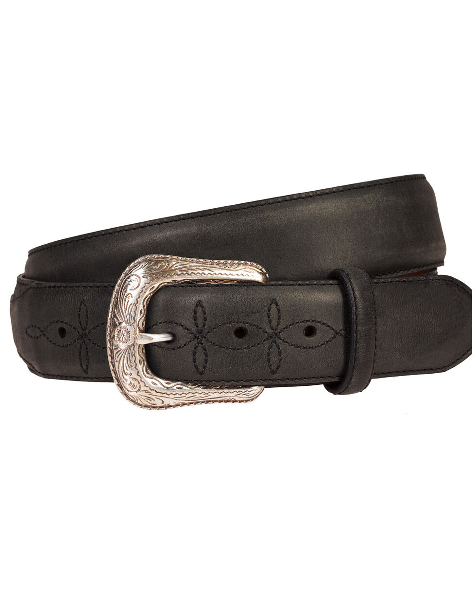 Wrangler Men's Black 38MM Crazyhorse Western Billet Belt, Black, hi-res