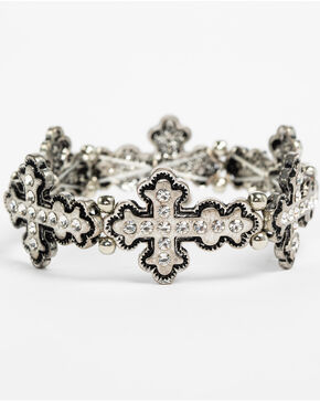 Shyanne Women's Bling Cross Stretch Bracelet, Silver, hi-res
