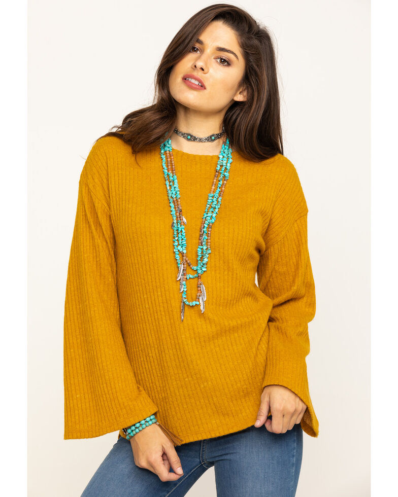 Cotton & Rye Outfitters Women's Mustard Bell Sleeve Sweater, Dark Yellow, hi-res