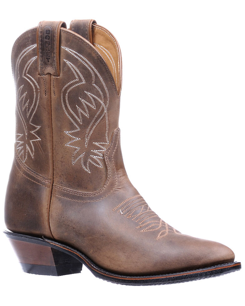 Boulet Women's Shaft Embroidery Western Boots - Round Toe, Dark Brown, hi-res
