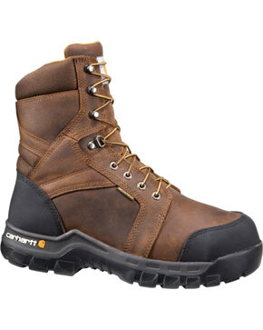 "Carhartt Men's Brown 8"" Internal Met Guard Work Boots - Round Toe , Brown, hi-res"