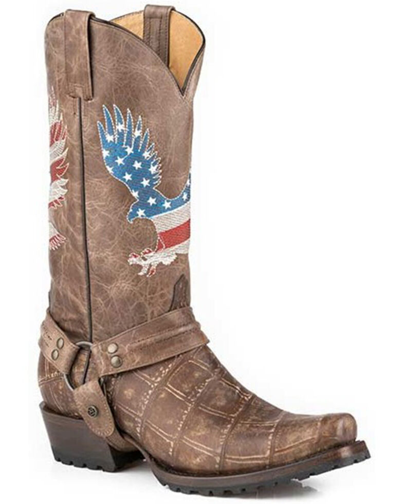 Roper Men's Soaring Eagle Western Boots - Snip Toe, Brown, hi-res