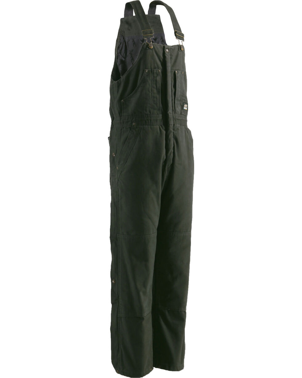 Berne Bark Original Washed Insulated Bib Overalls - Tall, Olive Green, hi-res
