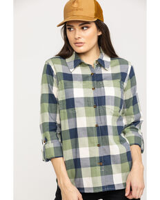 Carhartt Women's Green Fairview Plaid Shirt, Green, hi-res