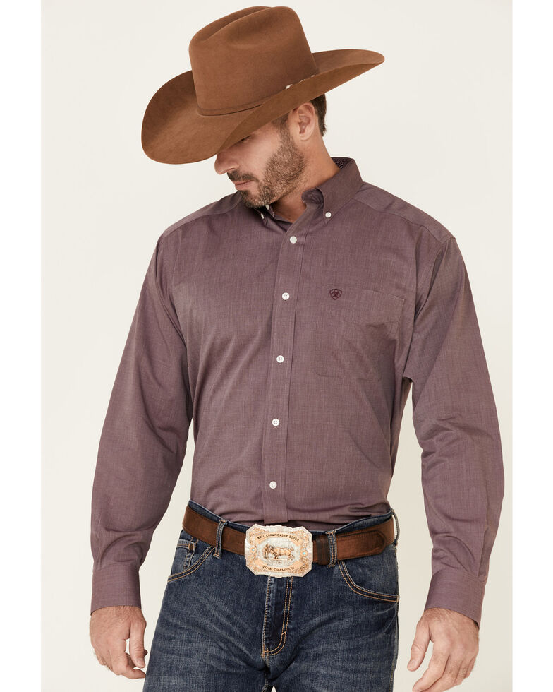 Ariat Men's Burgundy Wrinkle Free Oxford Pinpoint Long Sleeve Button-Down Western Shirt - Tall , Burgundy, hi-res