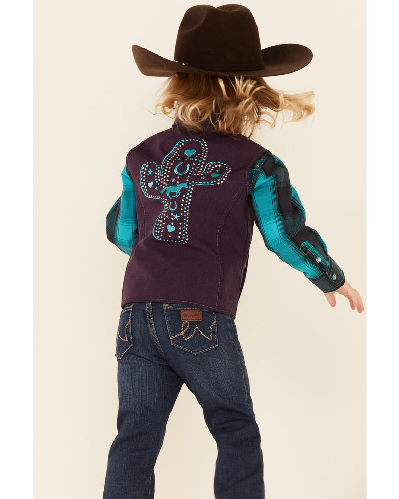 Cowgirl Hardware Girls' Purple Embroidered Cactus Zip-Front Softshell Vest , Purple, hi-res