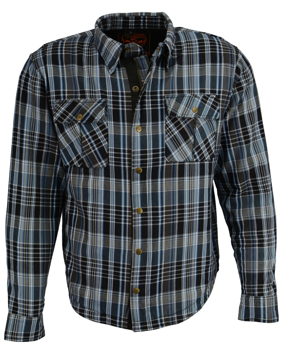 Milwaukee Performance Men's Aramid Reinforced Flannel Biker Shirt - Big & Tall, Black/blue, hi-res