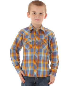 Wrangler Boys' Plaid Long Sleeve Western Shirt, Blue, hi-res