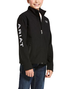 Ariat Boys' Black New Team Zip Up Softshell Jacket , Black, hi-res