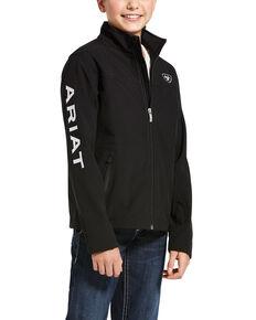Ariat Boys' Black New Team Zip Up Softshell Jacket , Black, hi-res