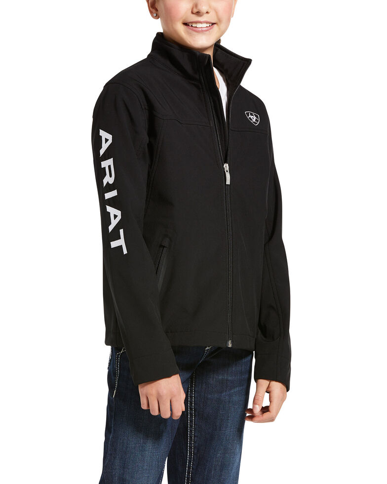 Ariat Girls' Black New Team Zip Up Softshell Jacket , Black, hi-res
