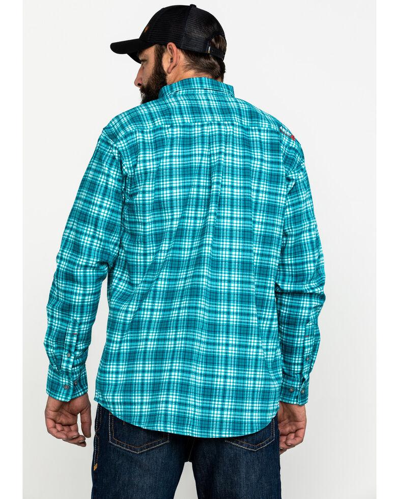 Ariat Men's FR Monterrey Check Plaid Long Sleeve Work Shirt , Teal, hi-res