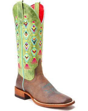 Macie Bean Fiesta, No Siesta Cowgirl Boots - Square Toe , Tan, hi-res