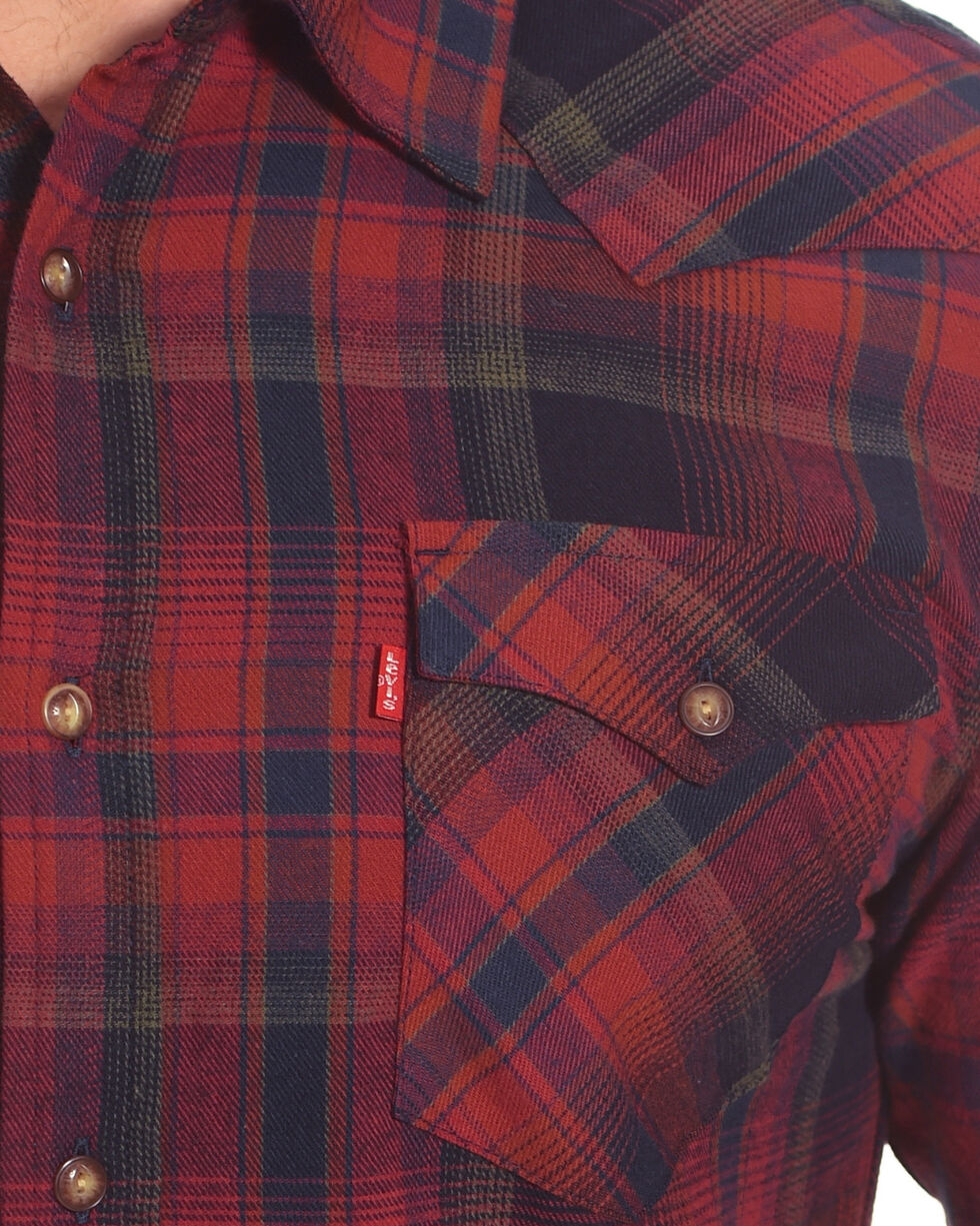 Levi's Men's Plaid Flannel Shirt, Red, hi-res