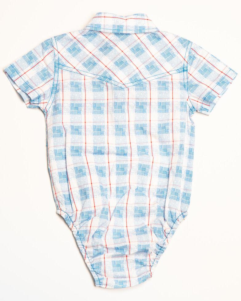 Cody James Infant Boys' Crooks Cross Plaid Short Sleeve Onesie, White, hi-res