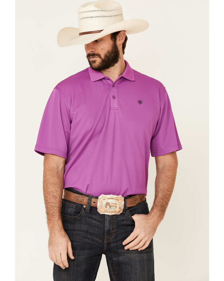 Ariat Men's Violet Tek Short Sleeve Polo Shirt , Purple, hi-res