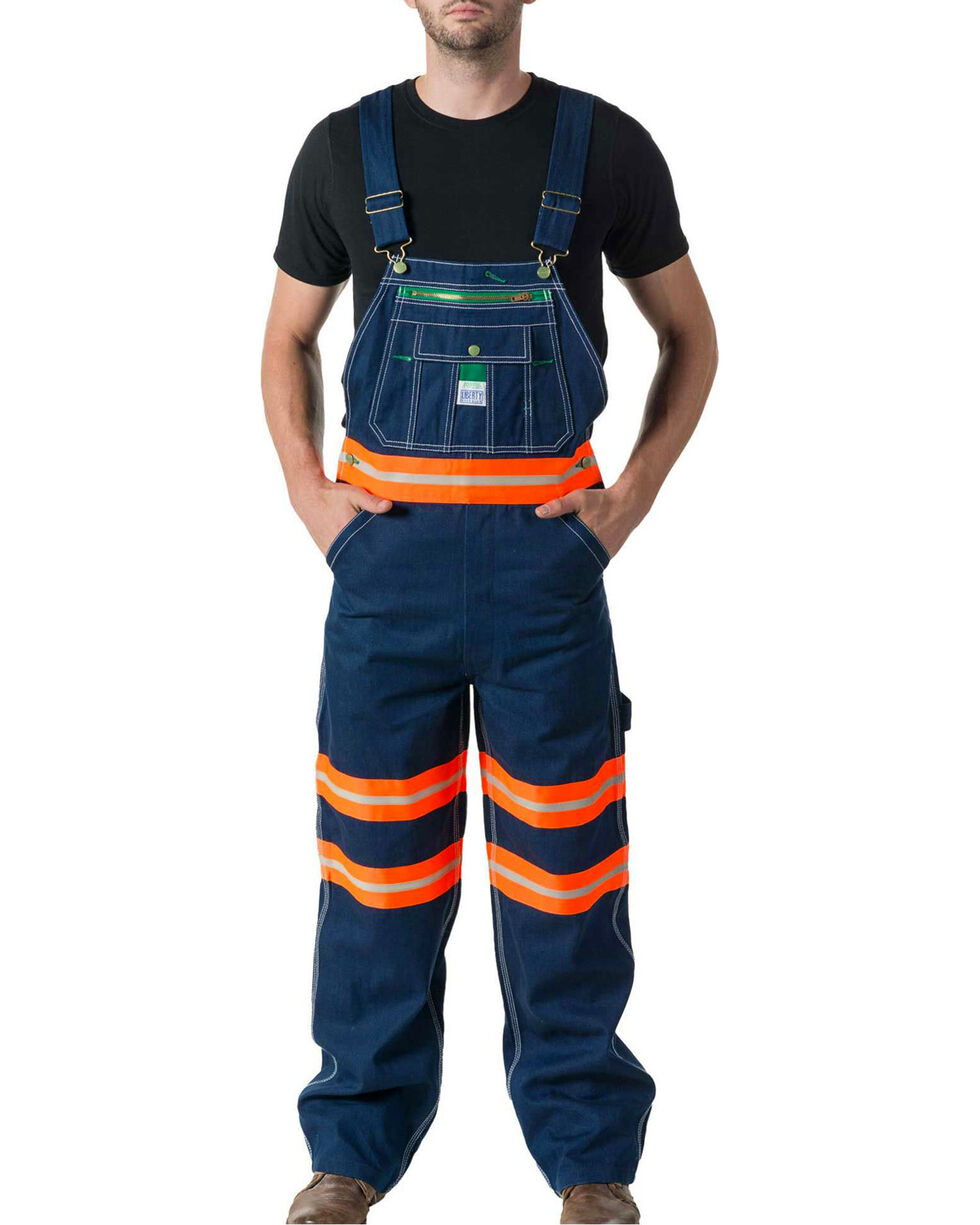 Walls Men's Liberty Bib With Hi-Vis Tape Overalls, Indigo, hi-res