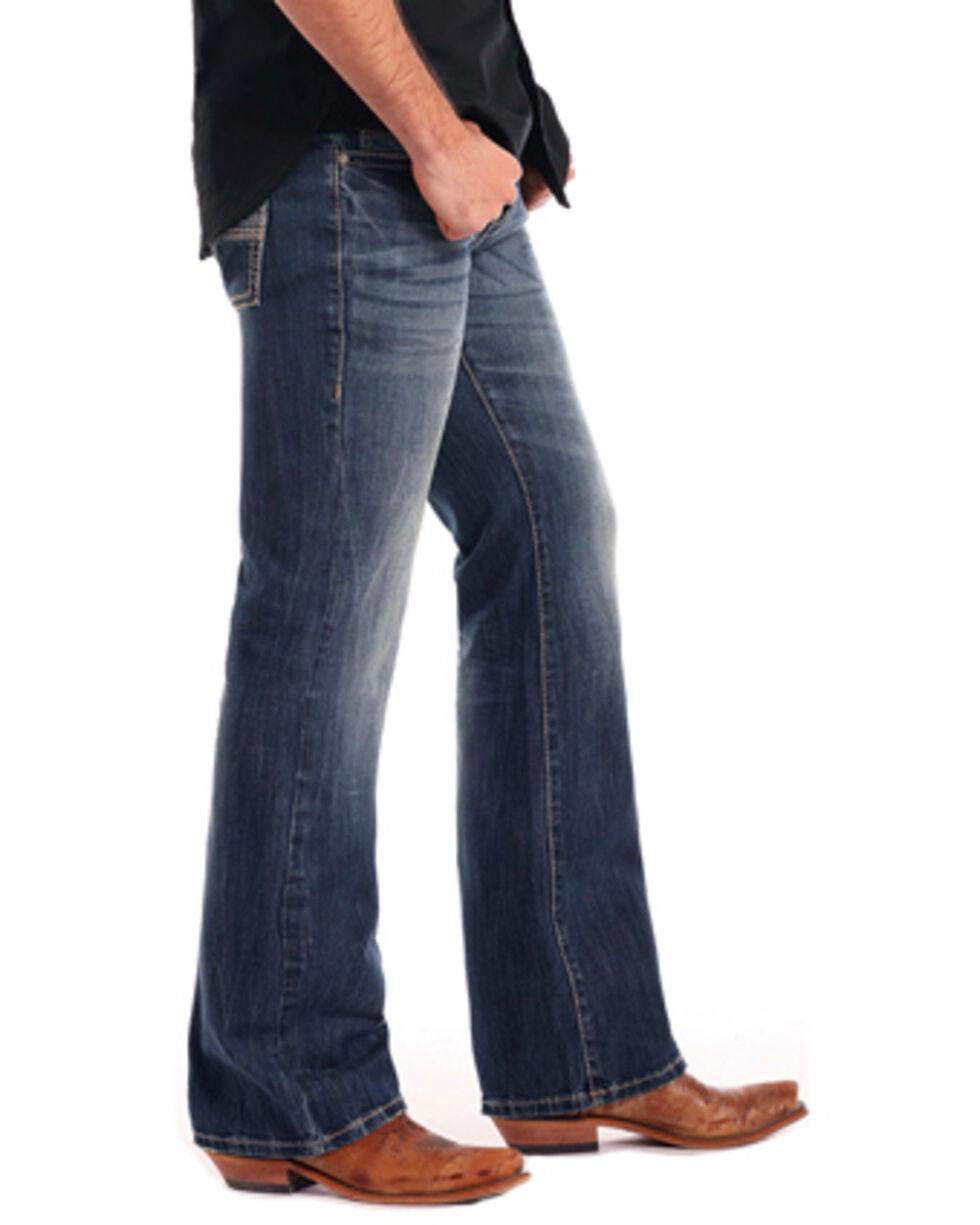 Rock & Roll Cowboy Men's Reflex Pistol Flying V Boot Cut Jeans, Blue, hi-res